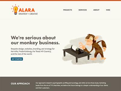 Alara Creative Redesign web design monkey website design illustration