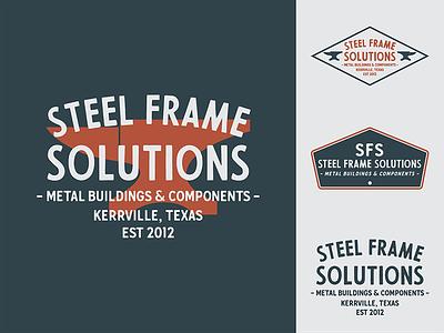 Steel Frame Solutions typography vector logo vintage design branding