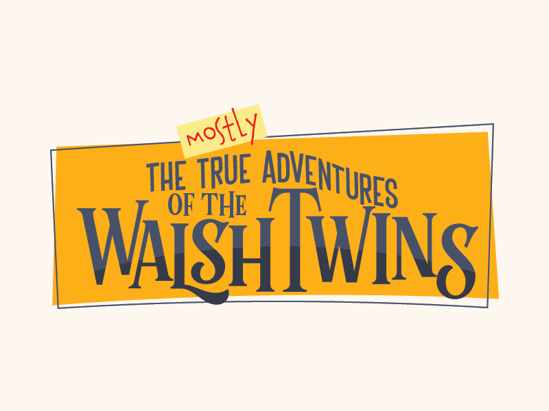 The (mostly) True Adventures of the Walsh Twins comic book title comic books vector logo design branding