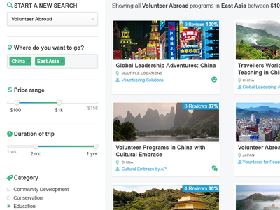 Go Search UI search travel ui results location tags duration price range category volunteer abroad