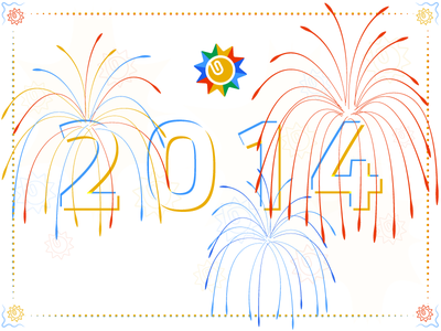 2014 new year 2014 fireworks celebration holiday kloudless primary banner