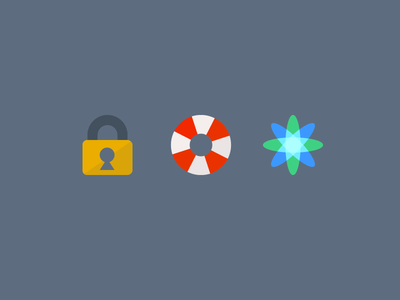 Security, Support, Flexibility illustration icons security support flexibility flat vector kloudless