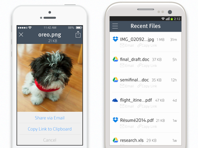 Early mobile mocks mobile iphone ios ios7 samsung android ui feed puppy cloud storage files share