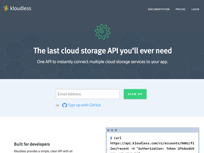 Developer Platform developers cloud storage api technical code github kloudless landing page homepage hero header