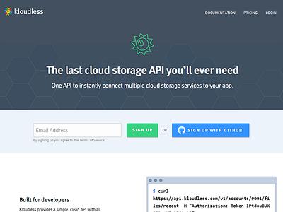 Dev Platform signup developers cloud storage api code github kloudless landing page homepage hero header signup sign up