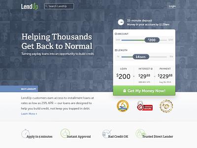 I've been at LendUp! lendup homepage financial fintech loans sliders hero trust lending