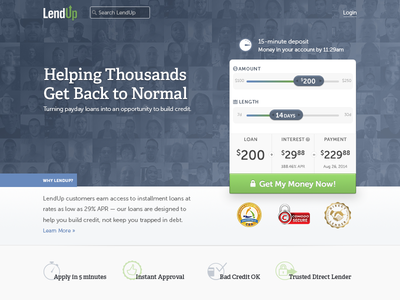 I've been at LendUp! lendup homepage financial fintech loans sliders hero trust lending