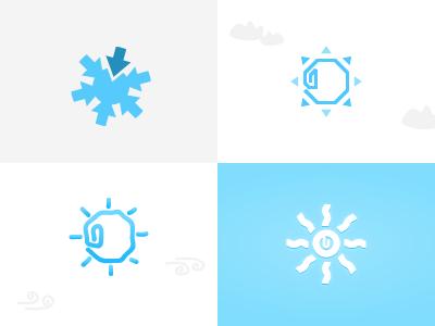 WIP Sun logos sun paperclip arrows logo mark identity light blue