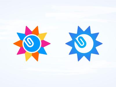 Sun mark sun paperclip logo mark identity blue pink orange yellow complementary