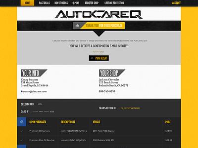 Order Receipt javascript shop black deal yellow website fonts css3 store flat responsive ux ui html5 simple texture automotive web clean leather auto
