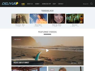 Video Website Concept video layout ui photoshop logo design beach concept