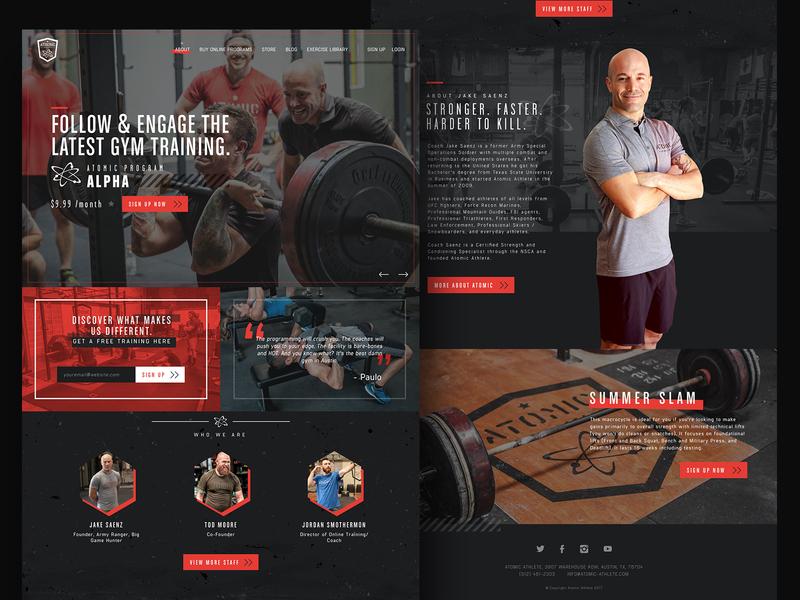 Atomic Athlete military creative direction texture ui design mma grunge webdesign texas gym ui design website