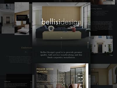 Bellisi Design sketch parallax home page scrolling ux luxury web typography branding luxury homes woodworking dark web design ui website