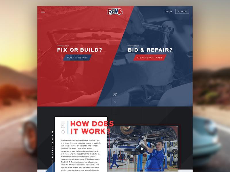 FOBMR - Fix or Build My Ride high octane parallax web application repair automotive web design website ui