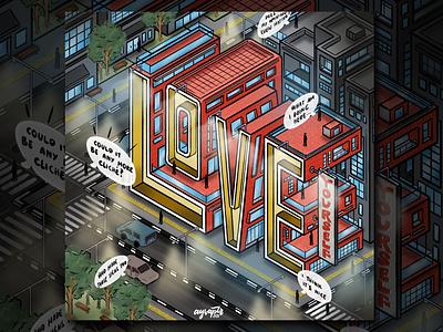 """""""Love"""" Hand Lettering isometric art illustration isometric illustration illustrator art goodtype digital art brush lettering digital lettering hand lettering typography lettering"""