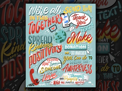 """""""We're all in this together"""" Lettering lettering design lettering artist lettering art brush lettering illustration digital art digital lettering hand lettering typography lettering"""