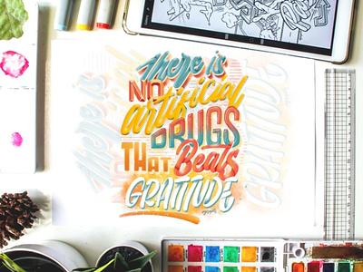 """Gratitude"" Digital Lettering quotes design goodtype calligraphy digital art brush lettering digital lettering hand lettering typography lettering"