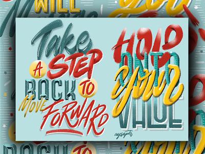 """Step Back"" Digital Lettering Art quotes calligraphy goodtype design illustrator art digital art brush lettering digital lettering hand lettering typography lettering"