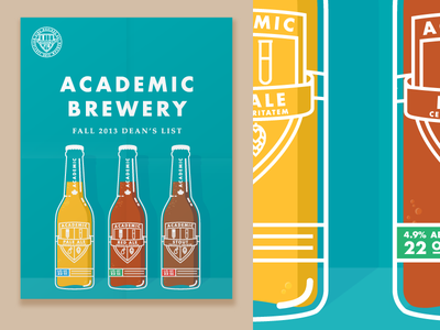 Academic Brewery Poster (2 of 3) poster illustration beer spill liquid brewery bottle detail label folds