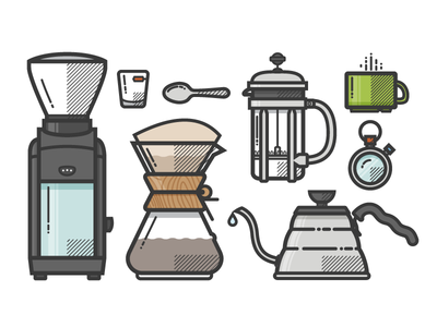 Coffee coffee illustration grinder chemex kettle icons spoon french press stop watch shot glass