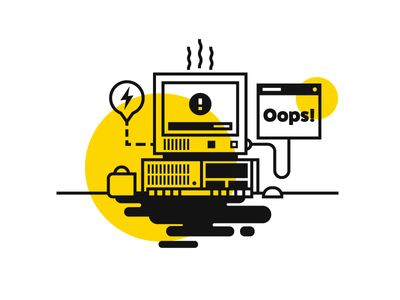 Oops! color steam coffee old computer error line oops computer spill illustration