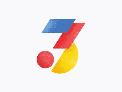 Three ibm ibm design shapes geometric texture illustration vector numeral number three
