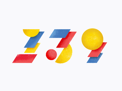 1-3-9 nine three one geometric shapes texture vector illustration numerals numbers