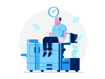🍑 🖨 Butt Scanner 🖨 🍑 empty state bald man scanner butt office clock paper monochromatic copier printer illustration
