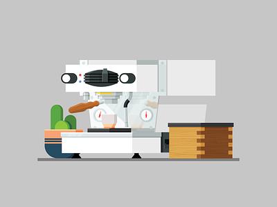 Linea Mini espresso machine cup coffee cactus espresso illustration