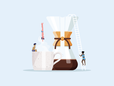 Coffee Dive people ladder mug diving chemex coffee illustration