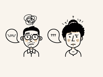 Confused personas shrug outline emotions confused eyebrows personas illustration characters