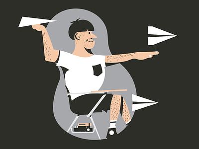 Big Kid big man paper airplane hairly man desk person illustration