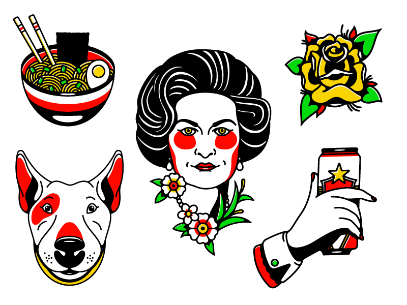 Flash Sheet woman austin flower hand dog rose beer ramen flash tattoo