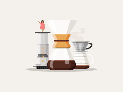 Coffee Choices little people aeropress lady v60 chemex coffee people illustration