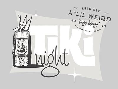 🍹Tiki Night 🍹 custom type cocktail party illustration lockup typography lettering tiki