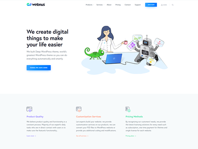 Webnus Website isometric illustration header slider wordpress webnus website ux ui