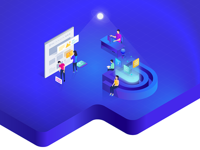 Deep Project pagebuilder footerbuilder headerbuilder isometric illustration header deeptheme wordpress webnus website ux ui