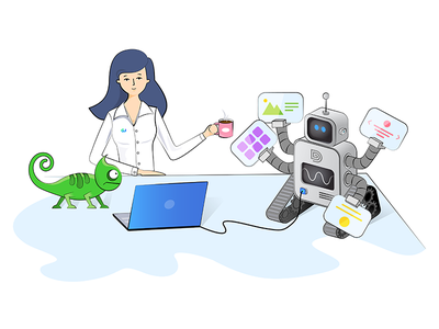 Girl and the robot drawing chameleons builder girl robot isometric illustration wordpress website webnus ux ui