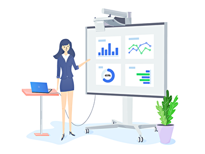 Girl and the board character slider ui ux deeptheme wordpress website design drawing illustration webnus