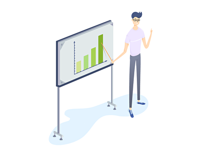 Boy and the board isometric wordpress slider design drawing deeptheme ui ux website illustration webnus