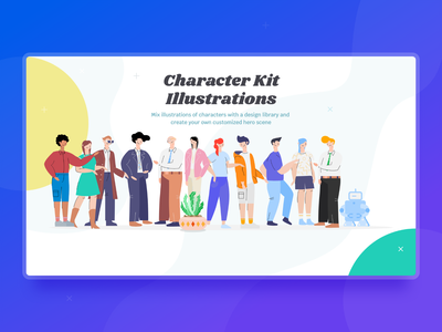Character Kit  Illustrations plant pot robot boy gir clean concept character design character theme slider slide sketch branding design drawing illustration webnus