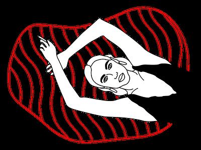 Girl in the pool (REMAKE) pool girl outlined lineart line art illustrated illustration