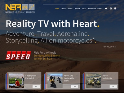 Neale Bayly Rides css animation mobile css website motorcycle tv television show speed tablet animation