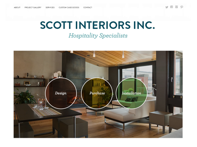 Scott Interiors homepage animation css3 color circles circle furniture interiors website wordpress responsive