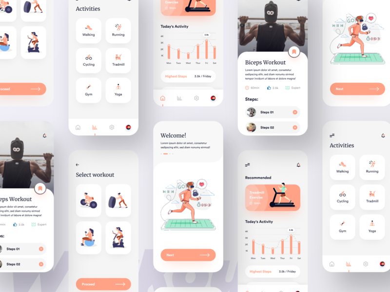 Workout App UI uxtrends uitrends bookmark graphic steps activities uidesigner workout uiuxdesign uidesign illustration mobile ui app ui ux modern mobile app ios app design clean ui