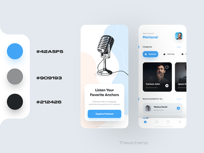 Podcast App UI Design minimalui appdesign speaking anchors uidesigner iosapp mobileui figmadesign podcastapp podcast uidesign ios app mobile ui app ui ux modern mobile app design clean ui