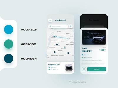 Car Rental App UI Design map book designer colorpalette uidesigns rent parking carapp uiuxdesigner appuidesign uiuxdesign ios app uidesign mobile ui modern mobile app design app ux ui