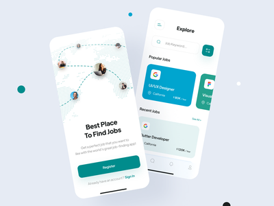 Job Finder App UI Design uidesigner dailyuidesign dailyui uiinspiration minimal concept appdesign appuidesign jobfinder job illustration design clean ui modern mobile app app ux appui 3d