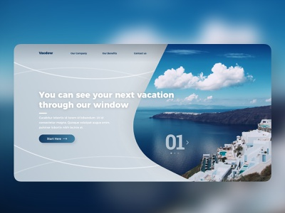 #dailyui - Landing Page concept design landing page vacations blue typography 100daychallenge ui dailyui design