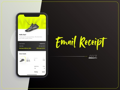 #DailyUI - 017 - Mail Receipt nike shoes green yellow invoice mail receipt iphone app appdesign ui design contrast typography app design ui 100daychallenge dailyui design